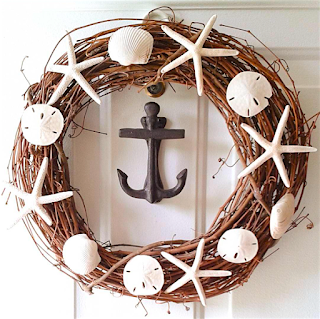 how to make a DIY seashell wreath, nautical wreath, beach wreath