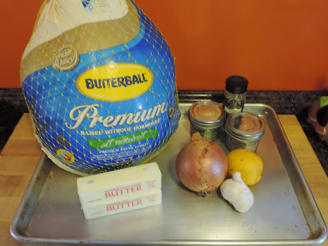 Ingredients needed for a perfectly roasted turkey.