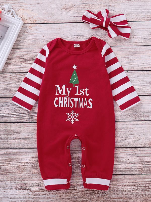 74c748fdefee My 1st CHRISTMAS baby jumpsuit with striped headband