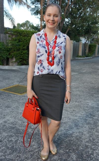 floral print button up tank red necklace statement necklace summer pencil skirt office outfit | away from blue