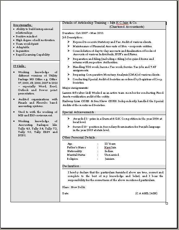 Chartered Accountant Resume Pdf business administration cv
