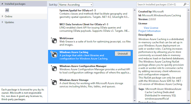 How to install Windows azure cache from Nuget?