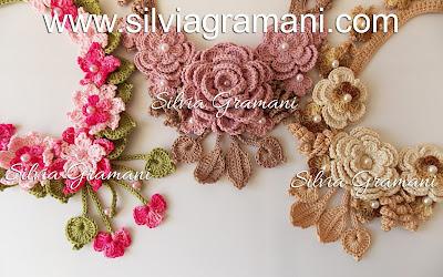 Cordão e Colares de Crochê com Flores