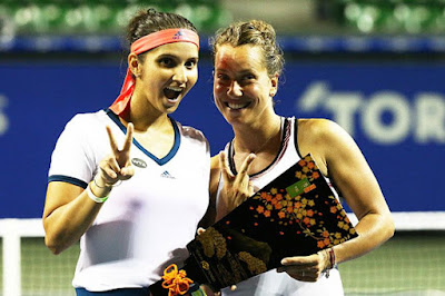 Indian Tennis Star Sania Mirza and Her Czech Partner Barbora Strycova