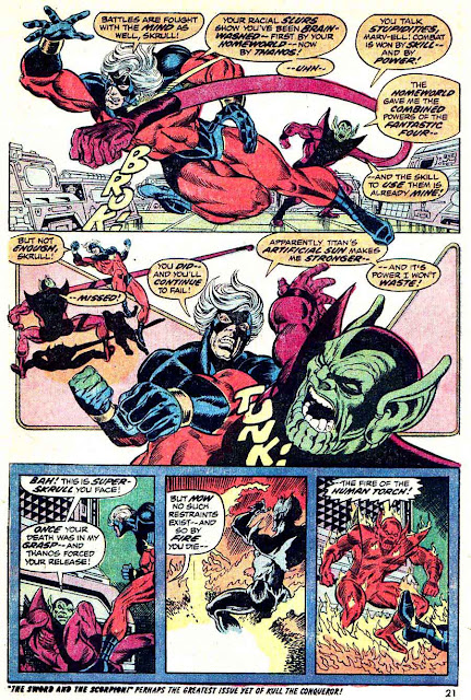 Captain Marvel #27 marvel 1970s bronze age comic book page art by Jim Starlin