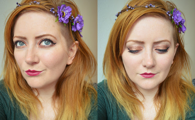 Autumn make up plum lipstick copper eyeshadow floral crown