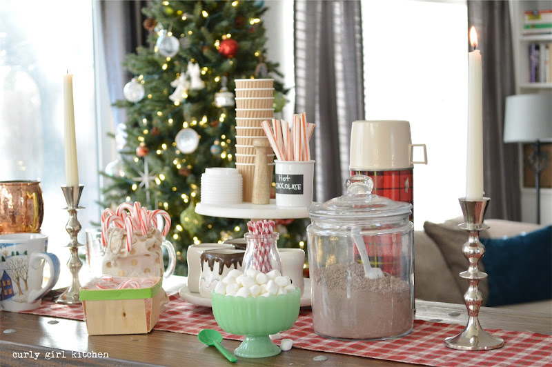 Christmas Decorations, Hot Chocolate Bar, Plaid Blankets, Christmas Tree, Red Velvet Cupcakes
