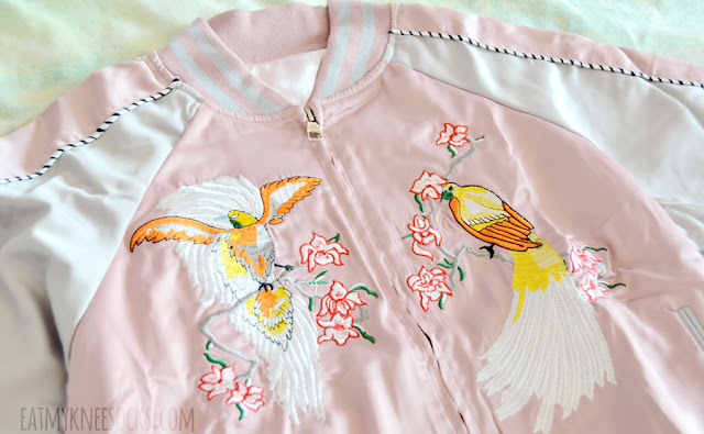 Dusty pale pastel pink floral embroidered silky satin souvenir jacket from Romwe.