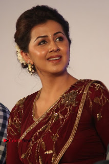 South Indian Actress Nikki Galrani Stills in Red Designer Saree at Maragadha Naanayam Tamil Movie Audio Launch  0005.jpg
