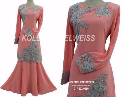Baju Kurung Moden Lace Untuk Tunang Warna Peach