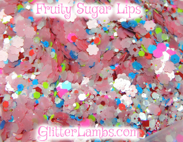 "Our ""Fruity Sugar Lips"" loose glitter mix has pink daisies, white iridescent opal hex small to large hex, neon hex in pinks, blues, and greens, micro holographic glitters, and red and white hex and square mix. Solvent Resistant Glitter-Nail Art Glitter-Craft Glitter-Scrapbooking-Card Making"