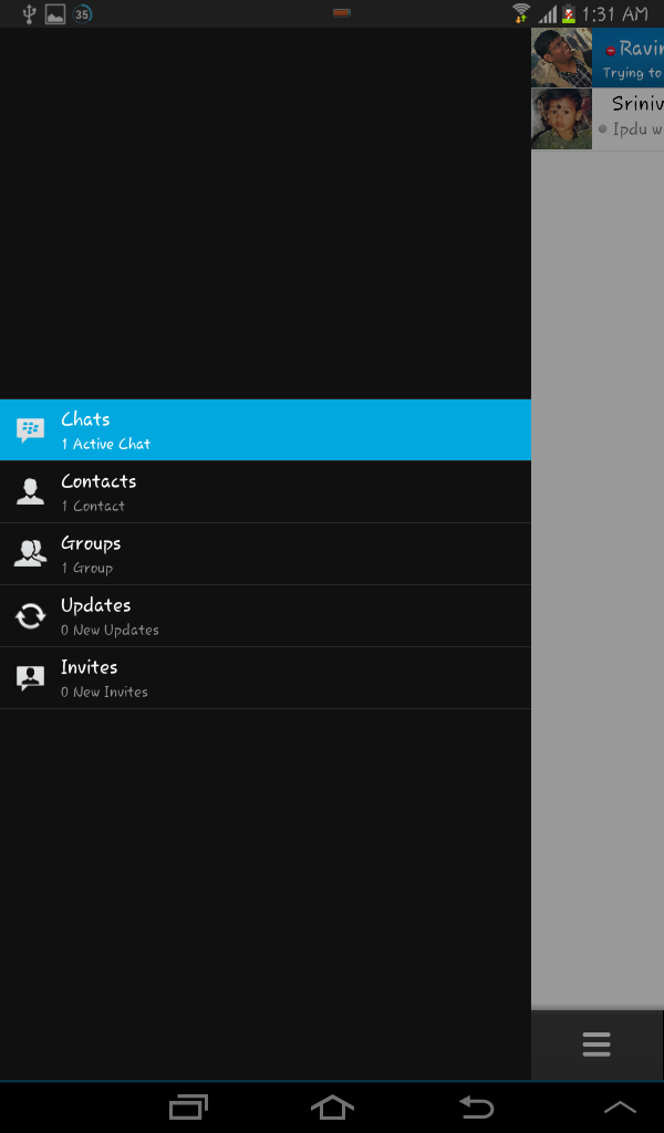 Blackberry Messenger left pane