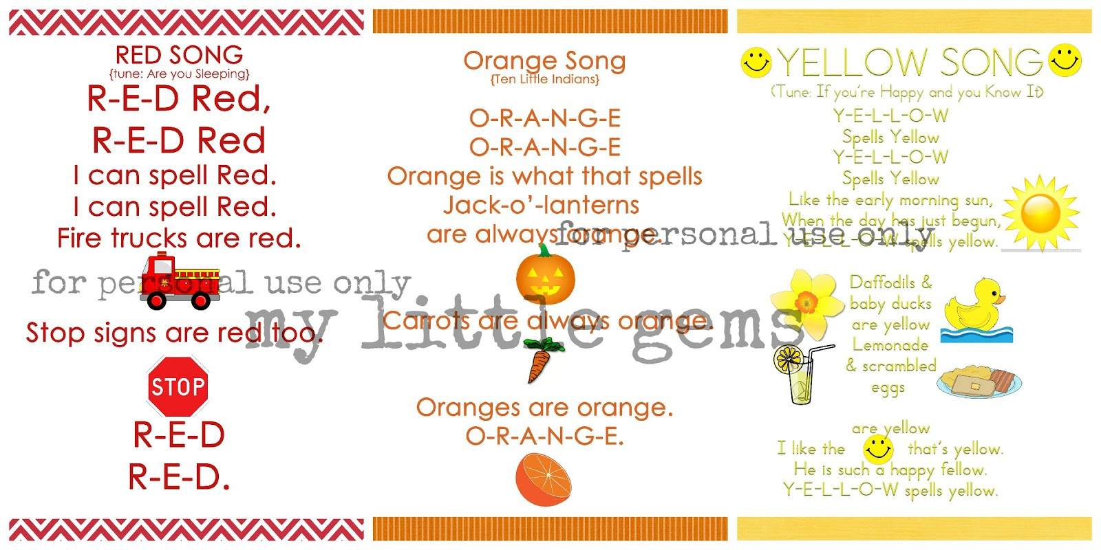 My Little Gems Preschool Color Songs Free Printables Part One