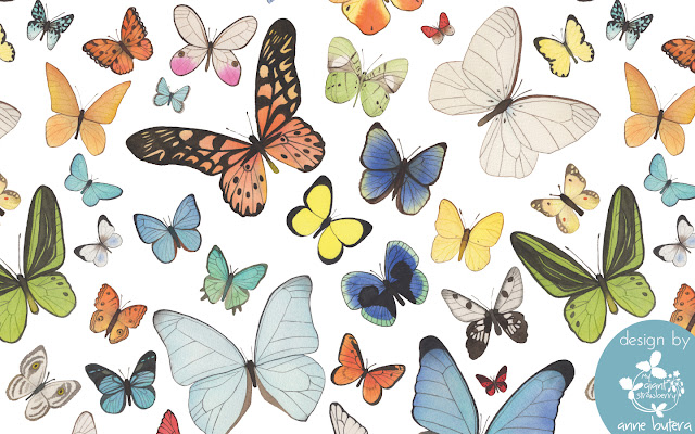 watercolor butterflies, desktop background, repeat patterns, surface pattern design, Anne Butera, My Giant Strawberry