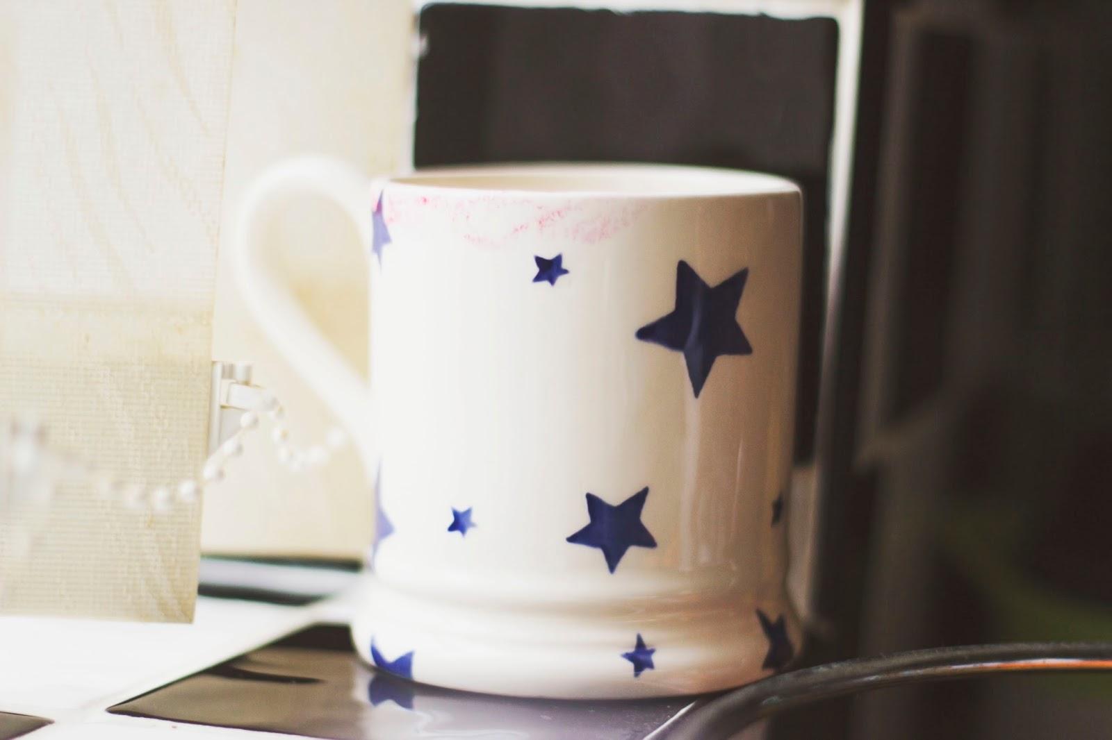 Emma Bridgewater Mug, Starry Skies, Ruby Woo Lipstick Marks, Katie Writes,