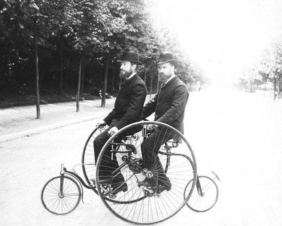 Edwardian tandem bicyclists b&w Photo