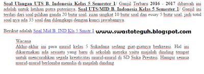 Soal Ulangan UTS B. Indonesia Kelas 5 Semester 1/ Ganjil Terbaru 2016 - 2017