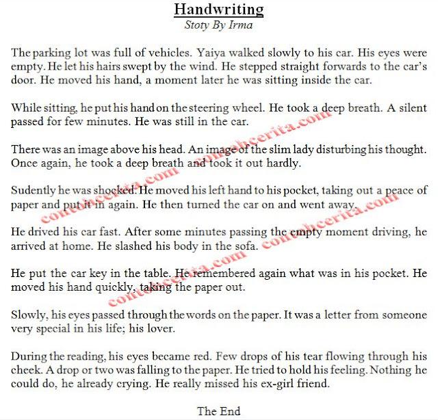 cerpen inggris singkat handwriting