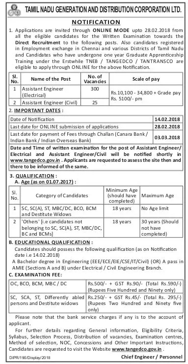 TNEB TANGEDCO 325 AE Post Recruitment 2018 - Apply Online