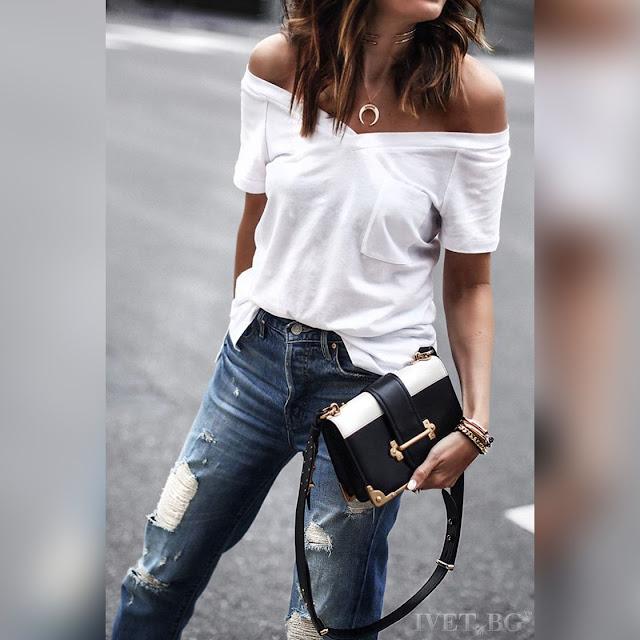 Κοντομάνικο γυναικείο άσπρο μπλουζάκι DONNA