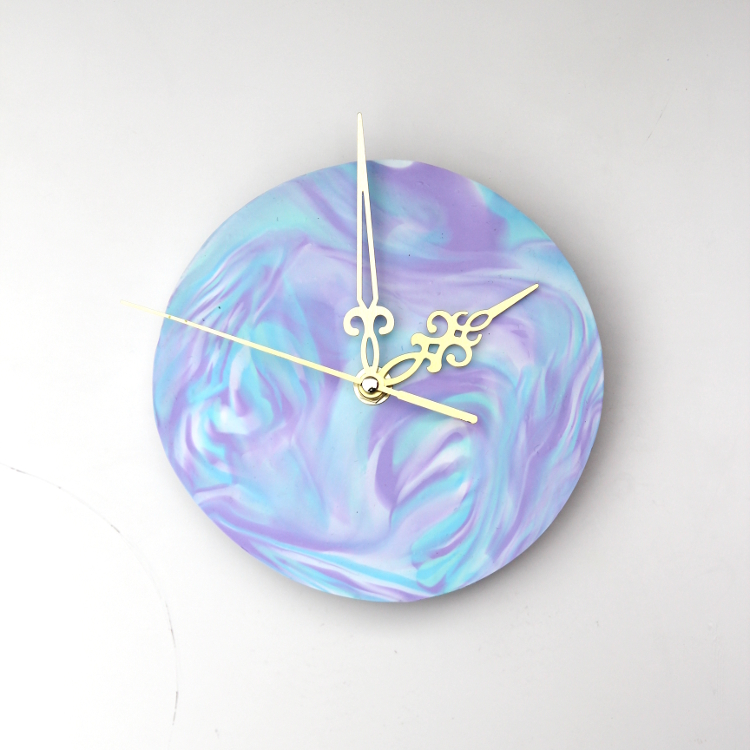 FINISHED DIY MARBLED POLYMER CLAY CLOCK