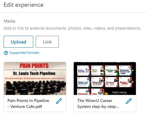 Upload and link media to LinkedIn profile