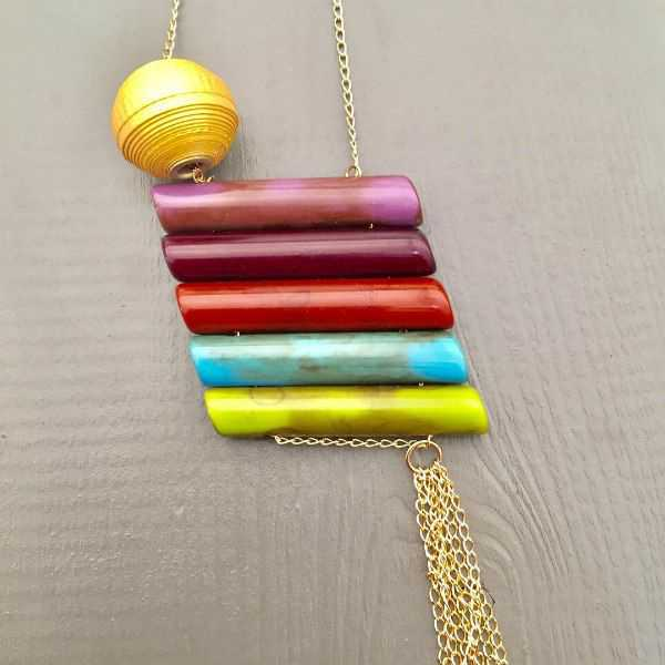 ceramic bead necklace with a rolled paper bead