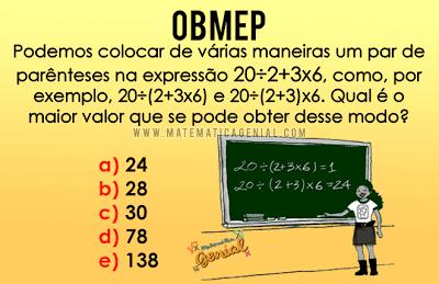 Questão OBMEP 2008 Nível 1 - Podemos colocar de várias maneiras...