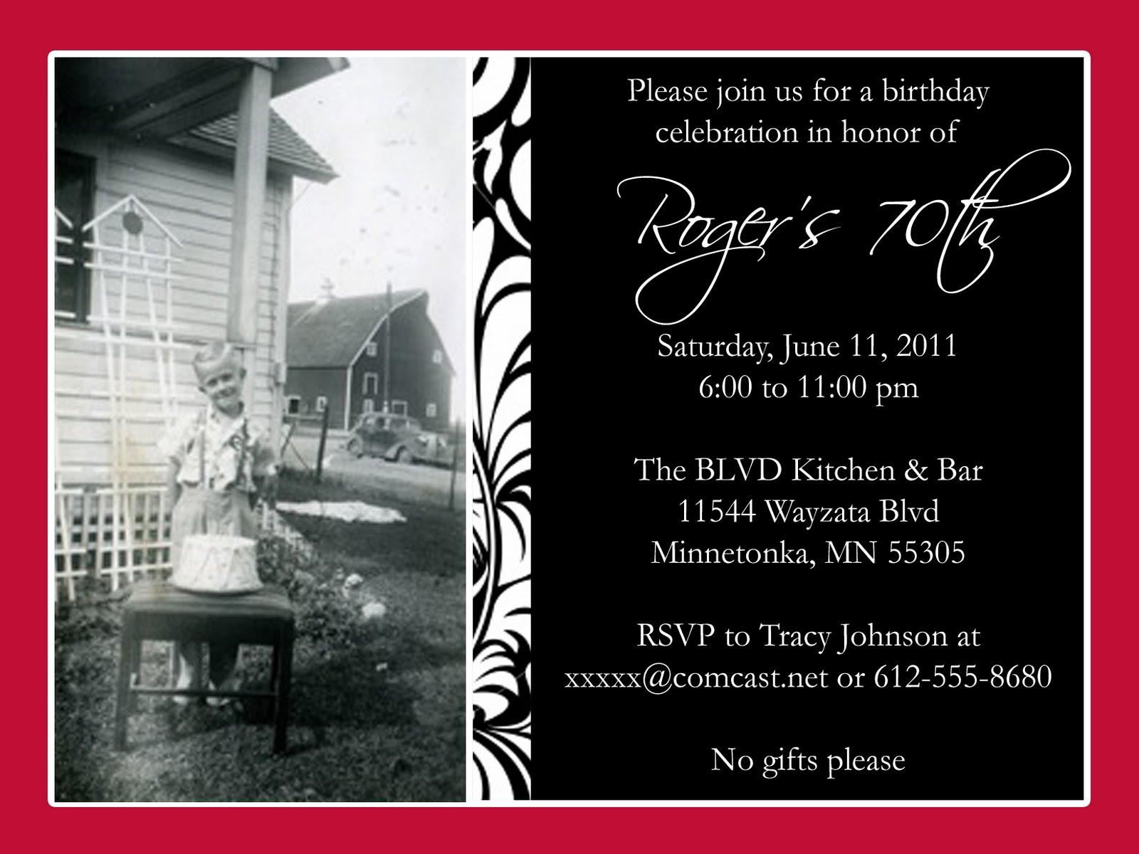 96 70th Birthday Invitations For Dad