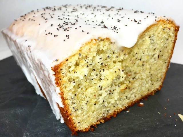 Half of a Glazed Lemon Poppy Madeira Cake