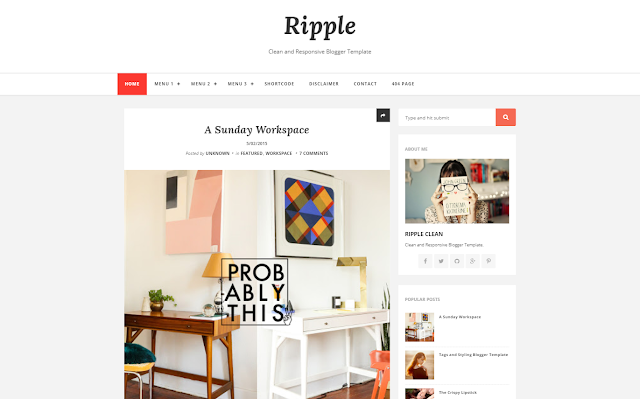 Ripple Responsive Blogger Template