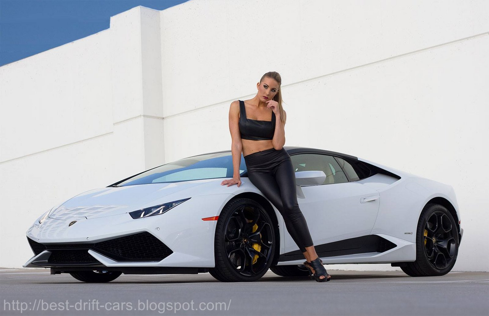 Photograph Girls And White Lamborghini Huracan Best Drift Cars
