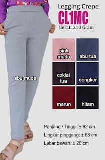 Celana legging polos bahan crepe halus