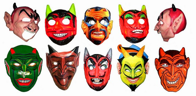 a collection of vintage halloween masks. Black Bedroom Furniture Sets. Home Design Ideas