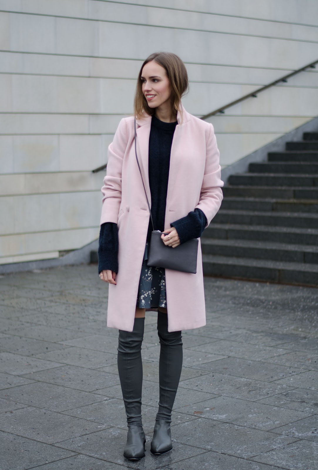 pink coat grey overknee boots outfit