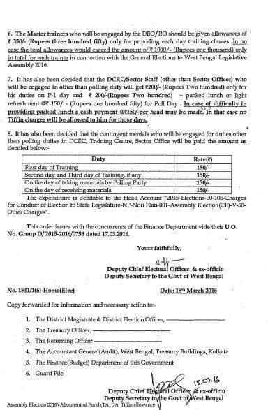 পশ্চিমবঙ্গ বিধানসভা ভোট ২০১৬ , ভোট কর্মীগণের ভোটের ডিউটির ভাতা