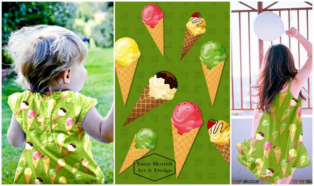 ice cream-cones-green-pattern-yamy-morrell