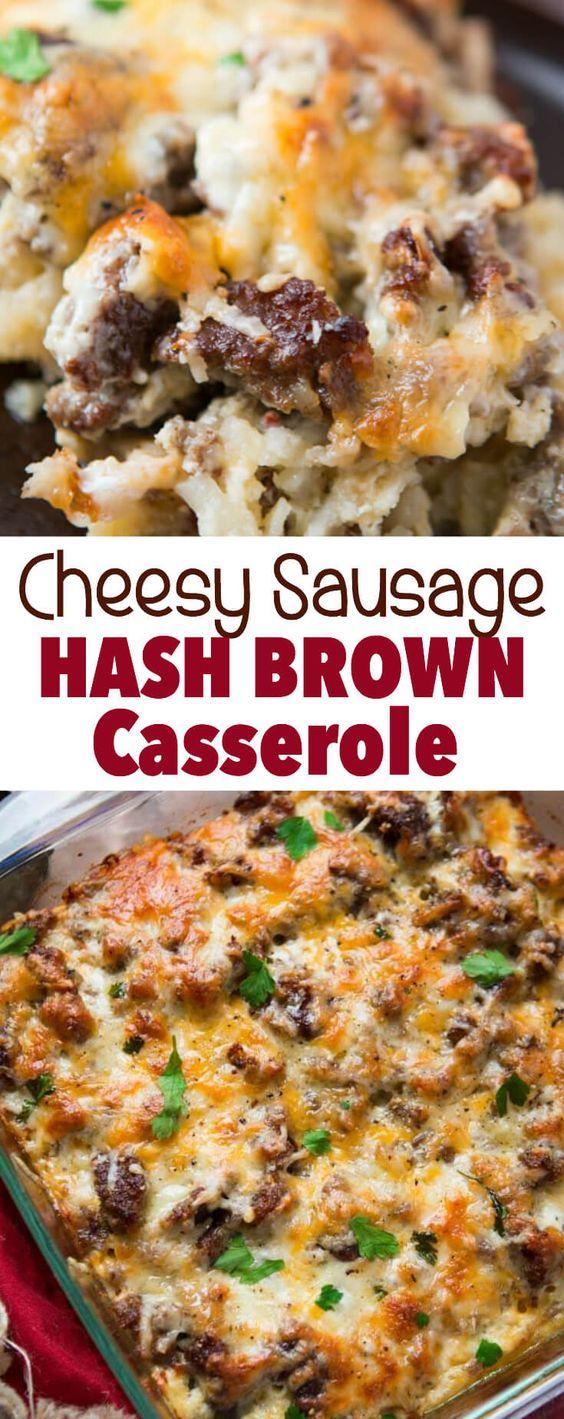 CHEESY SAUSAGE HASH BROWN BREAKFAST CASSEROLE