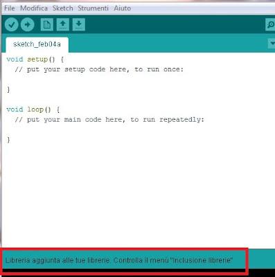 Fig. 5 - Installazione manuale riuscita - Fonte Arduino IDE