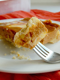 Pumpkin Pie Cream Cheese Bars...a two ingredient crust, delicious traditional pumpkin pie filling swirled with cheesecake!  Feeds 20 at Thanksgiving! (sweetandsavoryfood.com)