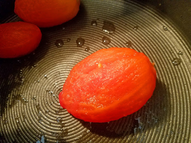 this is a skinless plum tomato with skins removed
