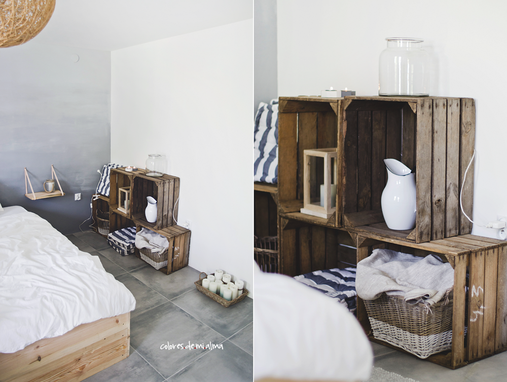 bedroom, wood bed diy, ombre wall, skrzynie po owocach