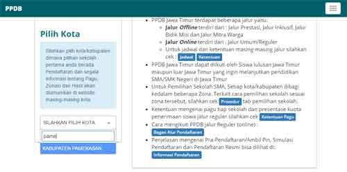 PPDB Online pilih kota/kabupaten