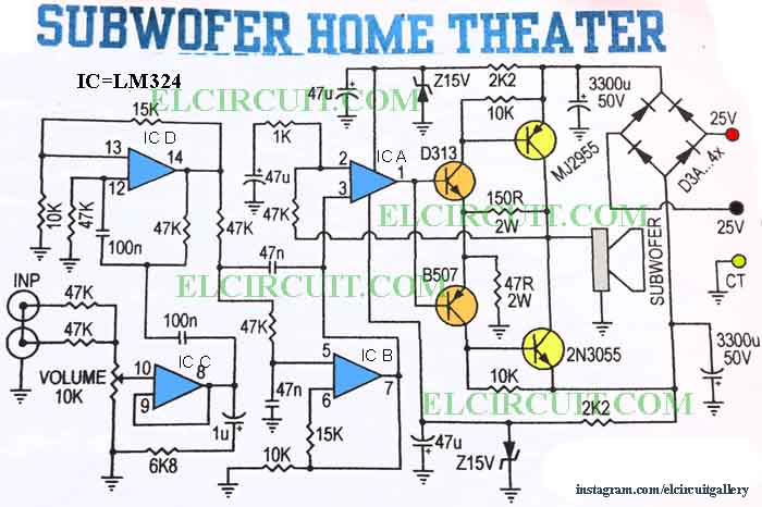 subwoofer home theater power amplifier electronic circuit active filter exciter control circuit diagrams subwoofer home theater power amplifier circuit diagram