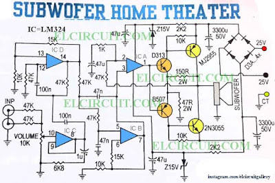 Subwoofer Home Theater Power Amplifier - Electronic Circuit