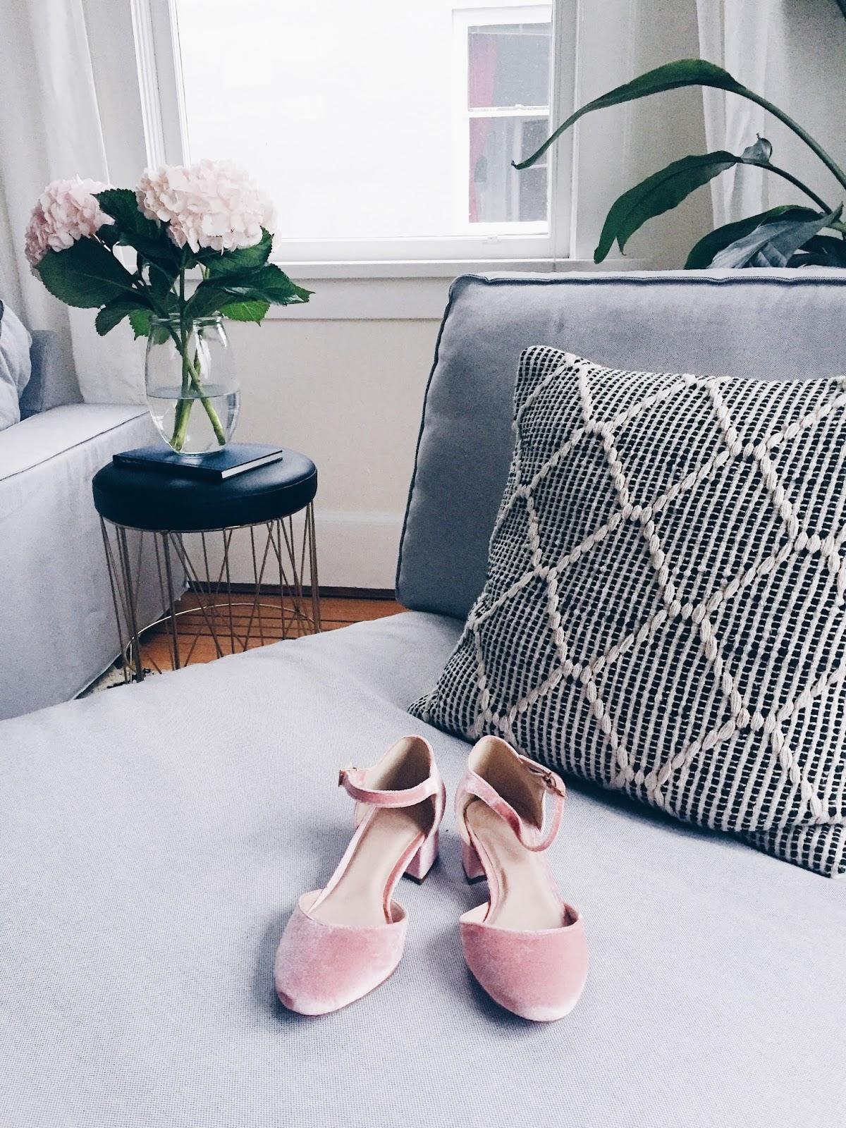 blush velvet mary jane shoes