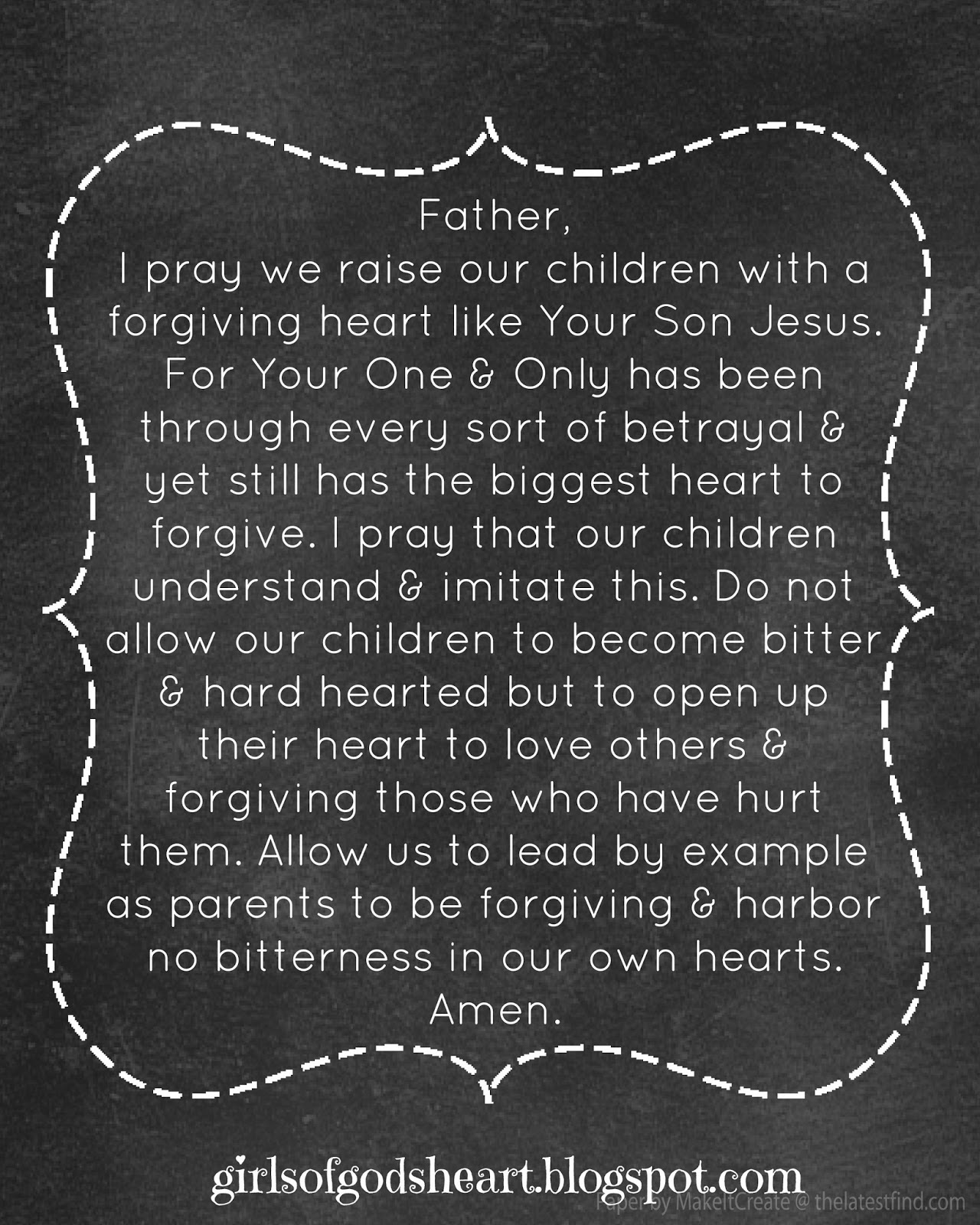 Prayer for forgiveness of others