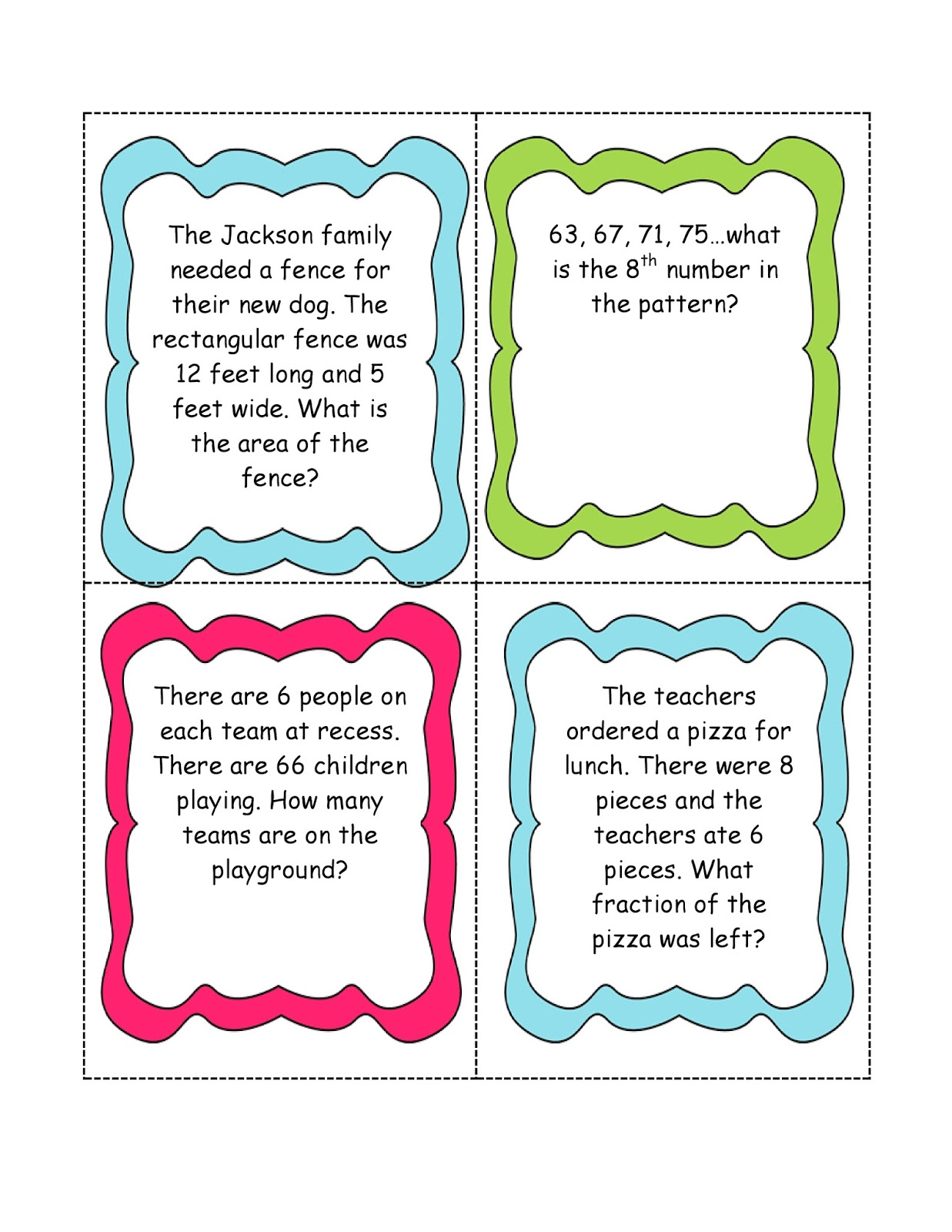 Math Word Problem Cards