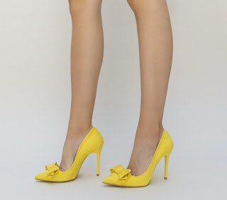 pantofi galbeni de ocazie eleganti piele intoarsa