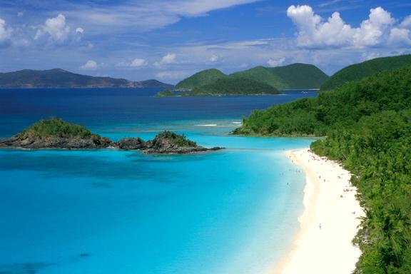 Plage de Saint John dans les îles vierges américaines